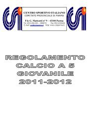 CENTRO SPORTIVO ITALIANO Comitato Provinciale di ... - CSI Parma
