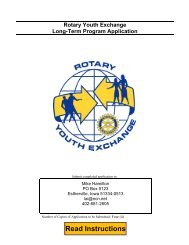 Rotary Youth Exchange Long Term Application - Rotary District 5970