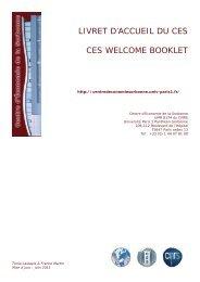 livret d'accueil du ces ces welcome booklet - Centre d'Économie de ...