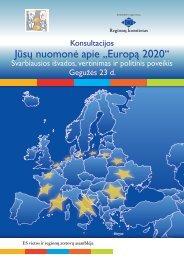 """Jūsų nuomonė apie """"Europą 2020"""" - Europa"""