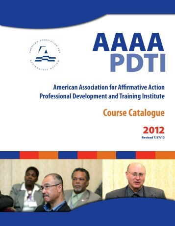 Course Catalogue 2012 - American Association for Affirmative Action