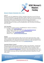 Women's Masters Newsletter No 1, 2012 - Hockey New South Wales