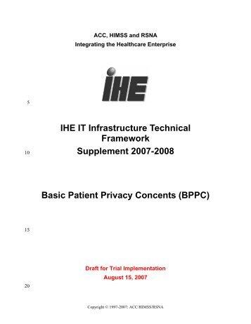IHE IT Infrastructure Technical Framework Supplement 2007-2008 ...