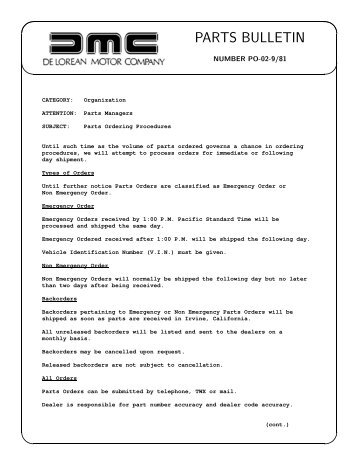 PARTS BULLETIN - DMC-News The DeLorean Mailing List