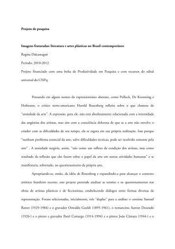 Imagens fraturadas: literatura e artes plásticas no Brasil ...