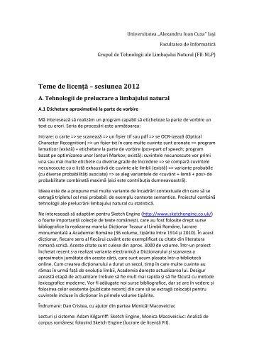 Teme de licenta 2012 - Universitatea Alexandru Ioan Cuza