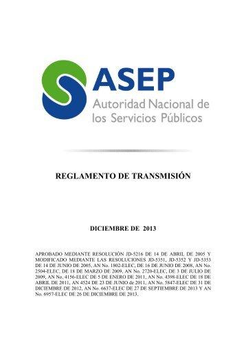 Reglamento de Transmisión - Asep