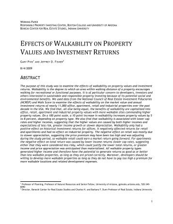 effects of walkability on property values and investment returns