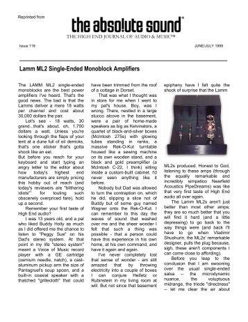 Lamm ML2 Single-Ended Monoblock Amplifiers - Lamm Industries