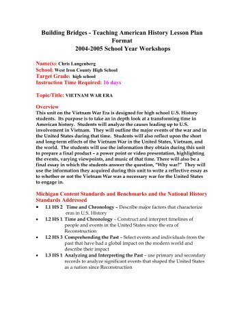 Teaching American History Lesson Plan Template Social Sciences