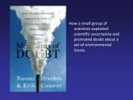 The Origins of Climate Change Denial and the Story of the ...