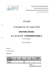 20. August 2008 MUSTERLÖSUNG KLAUSUR HYDROMECHANIK II