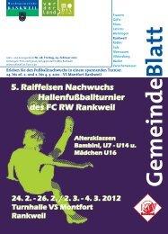 5. Raiffeisen Nachwuchs Hallenfußballturnier des FC RW Rankweil