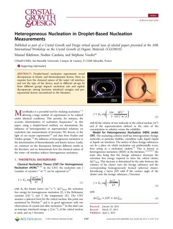 Heterogeneous Nucleation in Droplet-Based Nucleation ... - CINaM