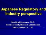 Japanese Regulatory and Industry perspective