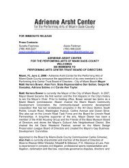 FOR IMMEDIATE RELEASE Press Contacts - Adrienne Arsht Center