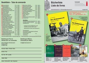 Bücherliste Liste de livres - Verein Schweizer Armeemuseum