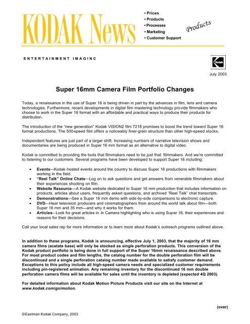Super 16mm Camera Film Portfolio Changes - Kodak