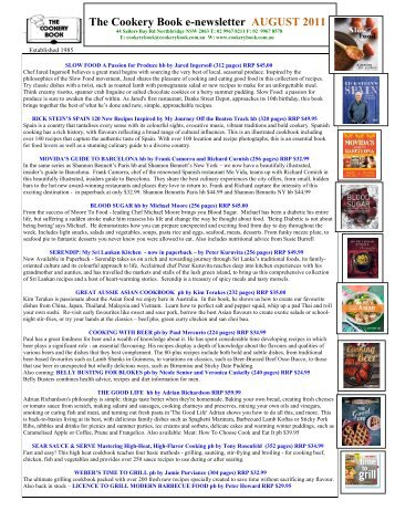 The Cookery Book e-newsletter AUGUST 2011
