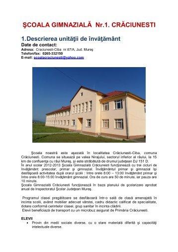 şcoala gimnazială crăciunești - Inspectoratul Şcolar Judeţean Mureş