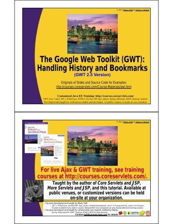(GWT): Handling History and Bookmarks - Custom Training Courses ...
