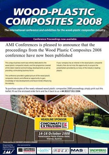 Wood Plastic Composites 2008 proceedings - AMI Consulting