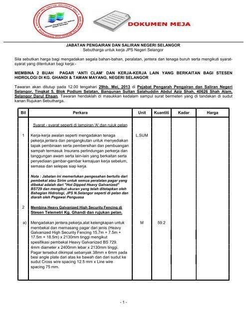Fail Tender Sistem Tender Dokumen Dan Sebutharga Selangor