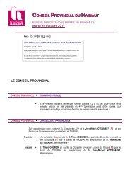 Décisions du 25 octobre 2011 - La Province de Hainaut