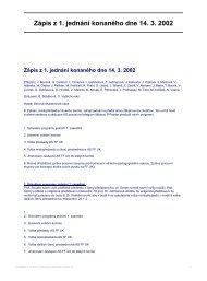Zápis z 1. jednání konaného dne 14. 3. 2002