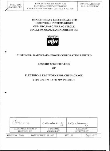 6. technical specifications - BHEL - Industrial Systems Group
