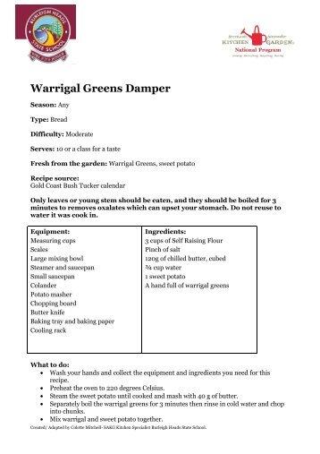 Warrigal Greens Damper (PDF, 82kb) - Burleigh Heads State School