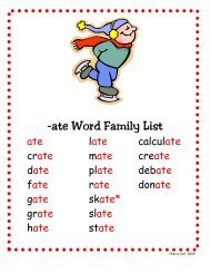 -ate Word Family List