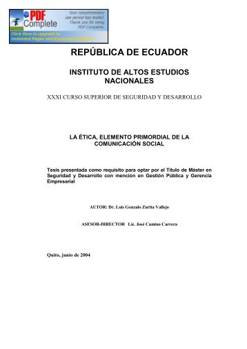 república de ecuador - Repositorio Digital IAEN - Instituto de Altos ...