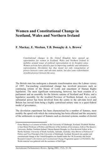 Women and Constitutional Change in Scotland, Wales and Northern ...