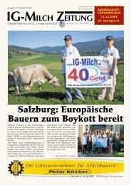 Salzburg: Europäische Bauern zum Boykott bereit - IG-Milch