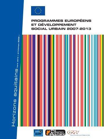 Programmes européens et développement social urbain ... - crpve