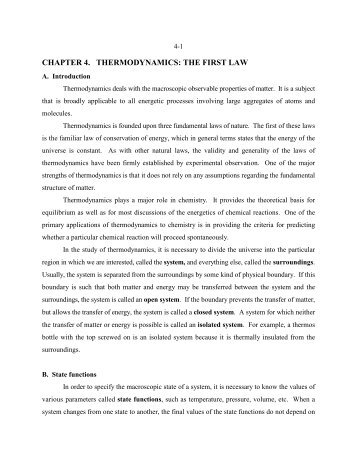 CHAPTER 4. THERMODYNAMICS: THE FIRST LAW