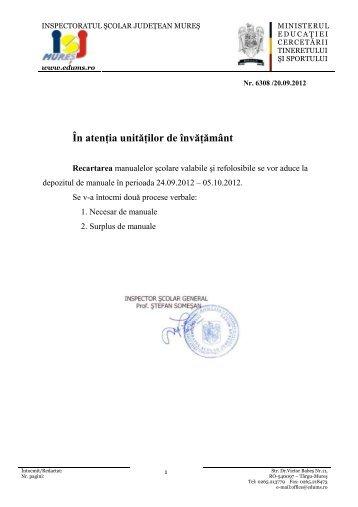 recartarea manualelor scolare - Inspectoratul Şcolar Judeţean Mureş