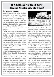 25 Kasım 2007: Savaşa Hayır! Kadına Yönelik Şiddete Hayır!