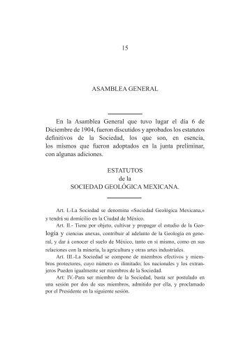 Asamblea General y Estatutos de la Sociedad Geológica Mexicana