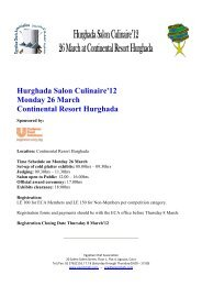 Hurghada Salon Culinaire'12 Monday 26 March Continental Resort ...