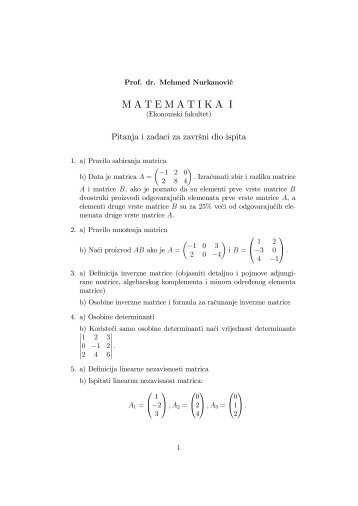 MATEMATIKA I - PMF