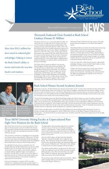 Bush School News Summer 2006 - Bush School of Government and ...