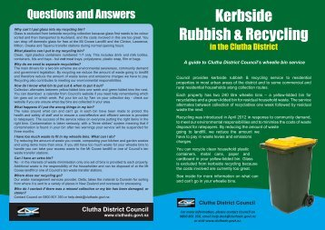 A guide to Council's Kerbside Rubbish & Recycling Service
