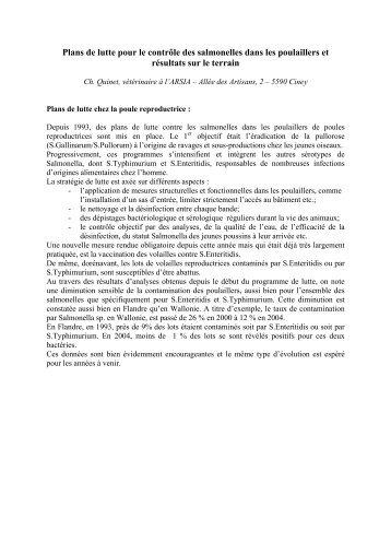 Plans de lutte pour le contrôle des salmonelles dans les ... - FACW