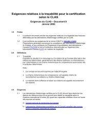 Exigences relatives à la traçabilité pour la certification selon le CLAS
