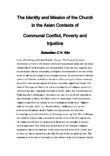 The Identity and Mission of the Church in the Asian Contexts of in ...