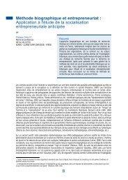 Méthode biographique et entrepreneuriat : Application à l'étude de ...