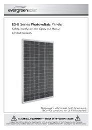 ES-B Series Photovoltaic Panels - Evergreen Solar