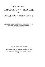 An Advanced Laboratory Manual Of Organic Chemistry